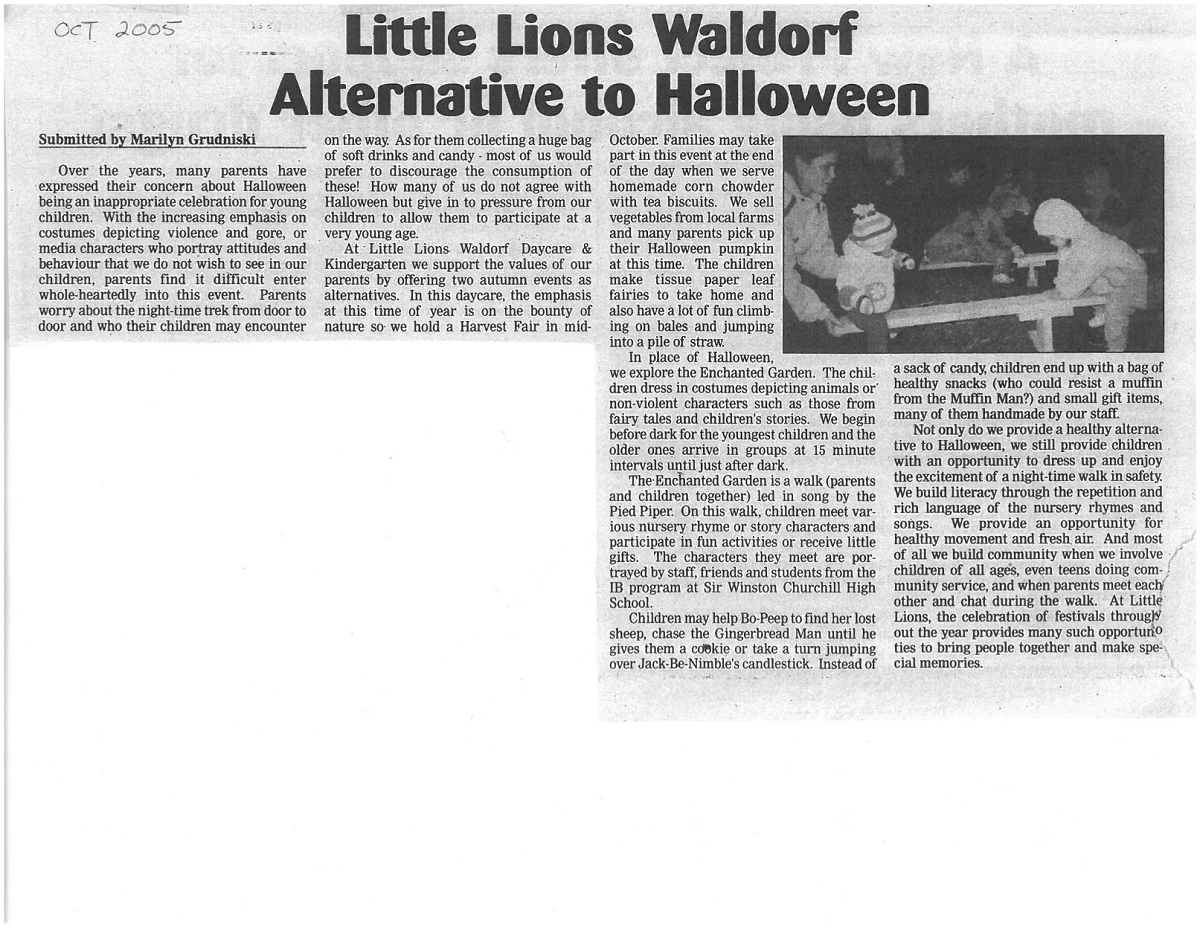 Little Lions Waldorf Alternative to Halloween